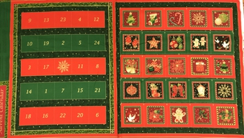 Red and Gold Seasons Greetings Advent Calendar Panel