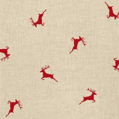 Red Christmas Stags Linen Canvas Fabric