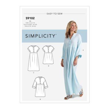 Simplicity Sewing Pattern S9102 Misses' Caftan & Dresses