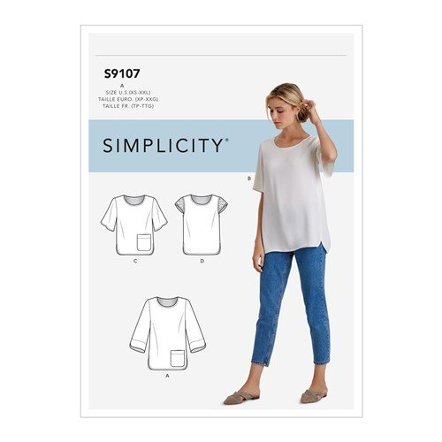Simplicity Sewing Pattern S9107 Misses Tops With Sleeve & Length Variation