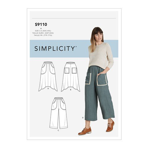 Simplicity Sewing Pattern S9110 Misses' Pull On Skirts & Cropped Pants