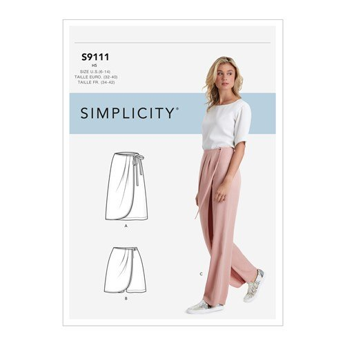 Simplicity Sewing Pattern S9111 Misses' Faux Wrap Pants, Skirt & Shorts