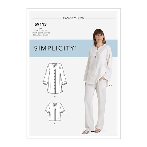 Simplicity Sewing Pattern S9113 Misses Tunic, Top & Pull On Pants