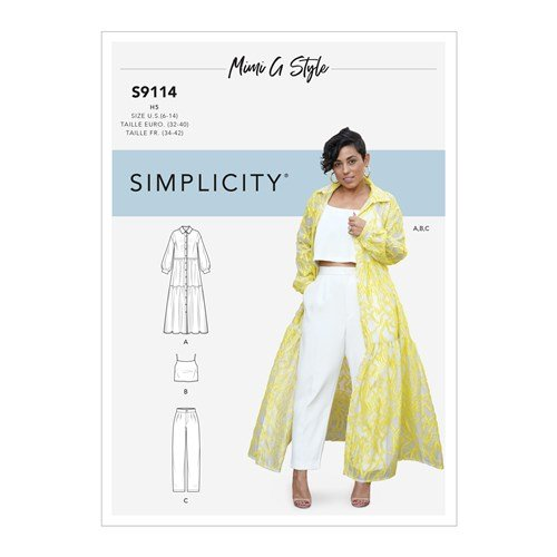 Simplicity Sewing Pattern S9114 Misses' Dress, Top & Pants By Mimi G Style