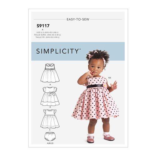 Simplicity Sewing Pattern S9117 Babies Dresses Panties & Headband