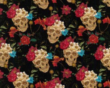Halloween Digital Skull and Roses Cotton