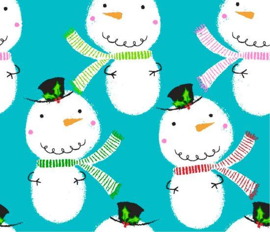 Christmas Pals Snowmen Print Christmas Fabric