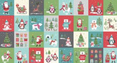 Let It Snow Blocks Panel Makower Christmas Fabric