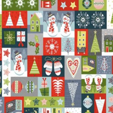 Joy Montage Makower Christmas Fabric