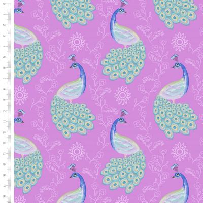 Elegant Peacock On Pink Cotton Fabric By Sarah Payne