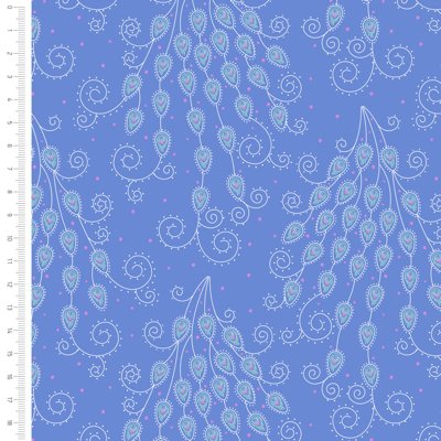 Elegant Peacock Tail Feather Cotton Fabric By Sarah Payne