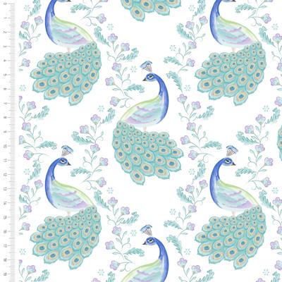Elegant Peacock On White Cotton Fabric By Sarah Payne