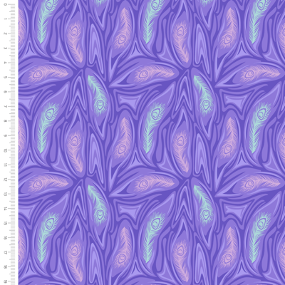 Elegant Peacock Feather Mix Cotton Fabric By Sarah Payne