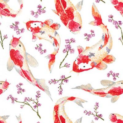 Koi Carp Rose and Hubble Cotton Fabric