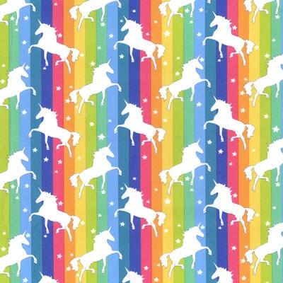 Bright Rainbow Unicorn Rose and Hubble Cotton Fabric