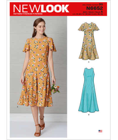 New Look 6652 Misses Fit and Flared Dress Sewing Pattern