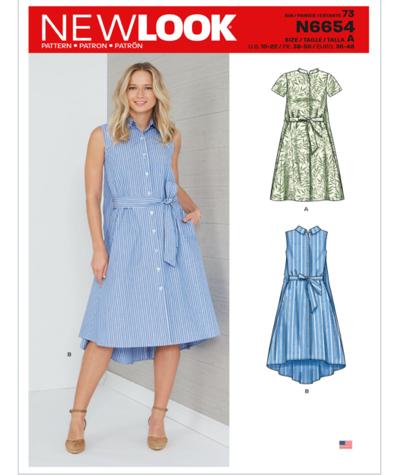 New Look N6654 Misses Shirt Dress Sewing Pattern