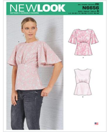 New Look N6656 Misses Tops sewing Pattern