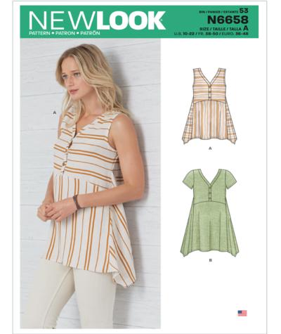 New Look N6658 Misses Handkerchief Hemmed Top Sewing Pattern