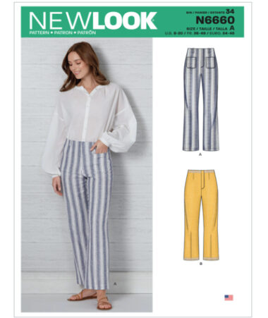 New Look N6660 Misses High Waisted Flared Trousers Pattern