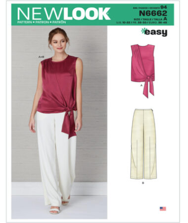New Look N6662 Misses Drape Top and Wide Leg Trousers sewing Pattern