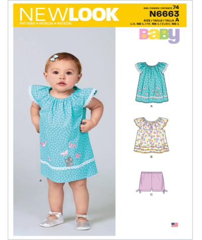 New Look N6663 Infants Dress Top and Trousers Sewing Pattern