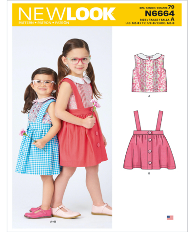 New Look N6664 Toddlers and Childrens Skirt and Top Sewing Pattern