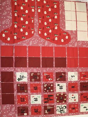 Christmas Santa Stocking and Advent Calendar Pockets Fabric Panel Rose and Hubble