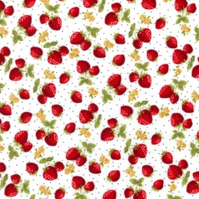 Summer Strawberries Rose and Hubble Fabric