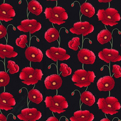 Poppy Fields Rose and Hubble Fabric