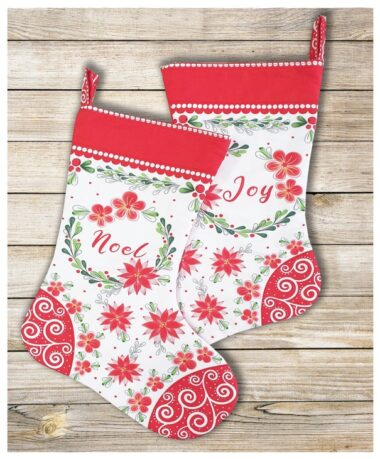 Merry and Bright Christmas Stocking Panel