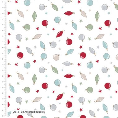 A Christmas Tale T Is For Baubles Cotton Fabric