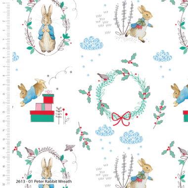 Peter Rabbit Christmas Scene Cotton Fabric