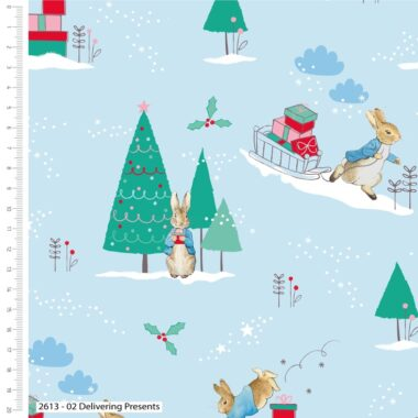Peter Rabbit Delivering Presents Christmas Cotton Fabric
