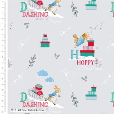 Peter Rabbit Dashing Letters Christmas Cotton Fabric