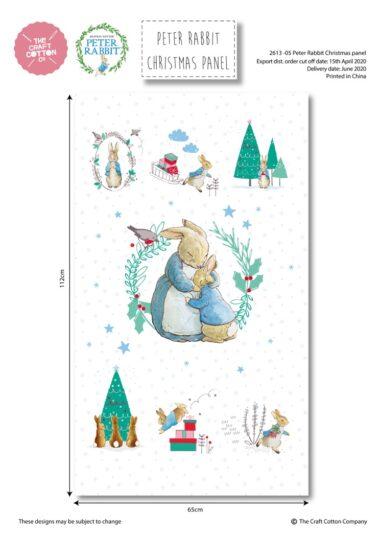 Peter Rabbit Christmas Panel Cotton Fabric