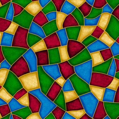Born Is The King Stained Glass Cotton Fabric