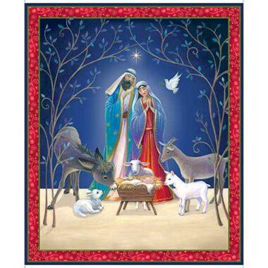 Christ Is Born Nativity Cotton Fabric Panel
