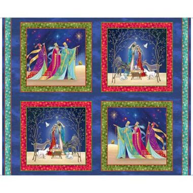 Christ Is Born Nativity Pictures Cotton Fabric Panel