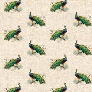 Digital Linen Canvas Pretty Peacock Fabric