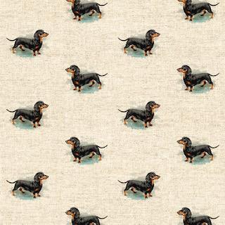 Digital Linen Canvas DASCHUND Fabric