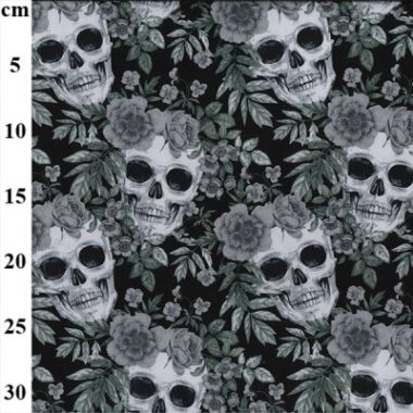 Day Of The Skull Rose and Hubble Cotton Fabric