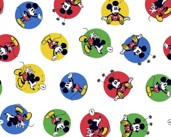 Mickey Mouse Stickers  Cotton Fabric