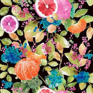 Digital Linen Canvas Fruit Bomb Black Fabric