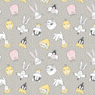 Grey Looney Tunes Tossed Faces Cotton Fabric