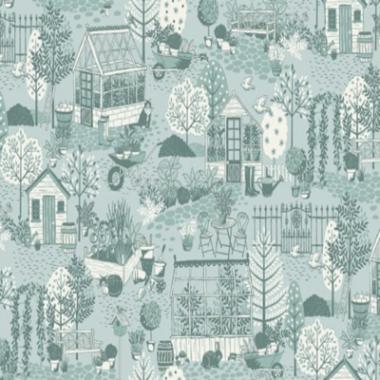 Clara`s Garden Scene Makower Cotton Fabric