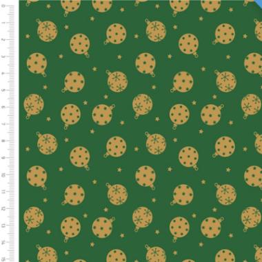 Basic Metallic Baubles Christmas Fabric