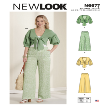 N6677 New Look Misses Cropped Jacket and Trousers Sewing Pattern