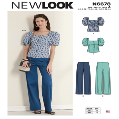 N6678 New Look Misses' Top and Trousers