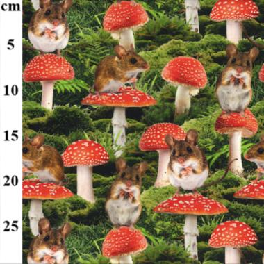 Mousey Mushroom Cotton Elastane John Louden Jersey Fabric